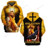 One Nation under God yellow Jesus cross ALL OVER PRINTED SHIRTS DH032403