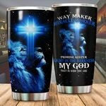 A 1 Way maker miracle worker promise keeper light in the darkness blue lion Tumbler ALL OVER PRINTED SHIRTS 040803