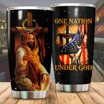 A One Nation under God Jesus US Flag cross Tumbler ALL OVER PRINTED SHIRTS dh051310