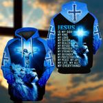 Jesus is my everything blue lion cross Jesus ALL OVER PRINTED SHIRTS DH052902