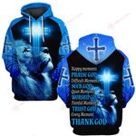 Every moment thank God blue lion Jesus cross ALL OVER PRINTED SHIRTS DH061307
