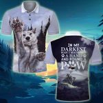 Wolf In the darkness hour I found a paw Polo Tee Shirt ALL OVER PRINTED v1 hh0615100