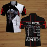 The devil saw me with my head down until I said Amen knight Christian Jesus Christ ALL OVER PRINTED SHIRTS DH062203