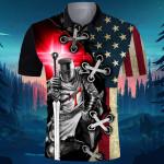 God American Flag USA Knight Templar ALL OVER PRINTED SHIRT 0623105