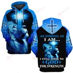 As strong as I am I still look for God for Strength blue lion cross Jesus ALL OVER PRINTED SHIRTS DH062413