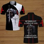 October guy A child of God a man of Faith a warrior of Christ knight Christian Jesus  ALL OVER PRINTED SHIRTS DH062410
