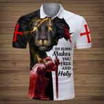 His blood makes you free and holy lion Knight Jesus Christian ALL OVER PRINTED SHIRTS DH062504