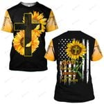 God blessed America Land that I love Sunflower Jesus Flag ALL OVER PRINTED SHIRTS DH062702