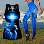 Jesus God Christ blue cross lion combo Tank + Legging ALL OVER PRINTED DH062703