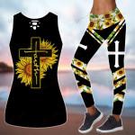 God Faith Sunflower Cross combo Tank + Legging ALL OVER PRINTED HH062703