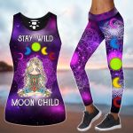 Hippie Stay Wild Moon Child Yoga combo Tank + Legging ALL OVER PRINTED HH062706