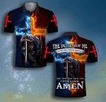 The devil saw me untiI I said Amen fire knight Jesus Christian ALL OVER PRINTED SHIRTS DH063007