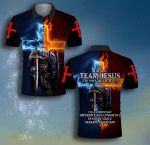 I am team on Jesus fire Knight Jesus Christian ALL OVER PRINTED SHIRTS DH070103