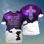 God Keep Praying Little Girl Cross Galaxy ALL OVER PRINTED SHIRT HH0702101