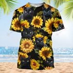 Hippie Black Cat Sunflower Tropical Flower Summer Vacation ALL OVER PRINTED SHIRT HH0711101