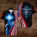 I asked God to make me a better man He sent me my wife American Flag blue lion ALL OVER PRINTED SHIRTS DH072802