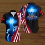 Jesus is my Savior cross American Flag blue lion ALL OVER PRINTED SHIRTS DH073004