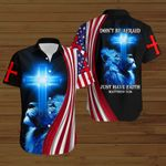 Don't be afaid just have faith American Flag blue lion ALL OVER PRINTED SHIRTS DH073003