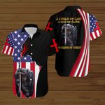 A Child of God a man of Faith a warrior of Christ American Flag Jesus knight ALL OVER PRINTED SHIRTS DH080301