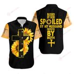 Blessed by God Spoiled by husband protected by both Sunflower ALL OVER PRINTED SHIRTS DH080302