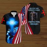 Man of God husband daddy protector hero knight American Flag blue lion ALL OVER PRINTED SHIRTS DH080603