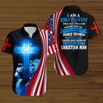 I am a bilble believin' prayer Jesus lovin' Christian man American Flag blue lion ALL OVER PRINTED SHIRTS DH080601