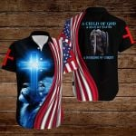 A Child of God a man of Faith a warrior of Christ American Flag Knight Lion Jesus ALL OVER PRINTED SHIRTS DH072502