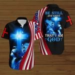 Be still and know that I am God American Flag blue lion  ALL OVER PRINTED SHIRTS DH081406