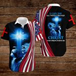 I can do all things through Christ who strengthens me American Flag blue lion  ALL OVER PRINTED SHIRTS DH081407