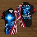 In the morning when I rise give me Jesus American Flag blue lion ALL OVER PRINTED SHIRTS DH081706