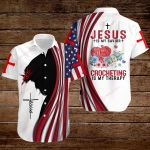 Jesus is my savior crocheting is my therapy American Flag ALL OVER PRINTED SHIRTS DH081708