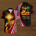 Fall for Jesus He never leaves American Flag yellow lion ALL OVER PRINTED SHIRTS DH081704
