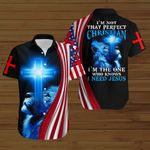 I'm not that perfect Christian I need Jesus American Flag blue lion ALL OVER PRINTED SHIRTS DH081702