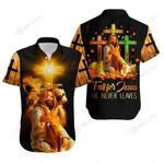 Fall for Jesus He never leaves Jesus cross yellow lion ALL OVER PRINTED SHIRTS DH081801