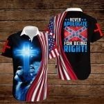 Confederate States of America Flag Never apologize for being right!  ALL OVER PRINTED SHIRTS hoodie 3d 0820907
