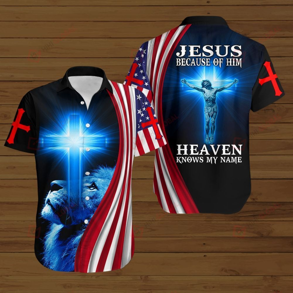 Jesus because of him heaven knows my name American Flag blue lion ALL OVER PRINTED SHIRTS DH081002