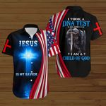 Jesus is my Savior took a DNA test I am a child of God American Flag knight ALL OVER PRINTED SHIRTS DH082403