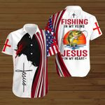 Fishing in my veins Jesus in my heart American Flag ALL OVER PRINTED SHIRTS DH082407