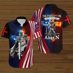 The devil saw me until I said Amen American Flag Jesus knight Christian ALL OVER PRINTED SHIRTS DH082507