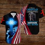 I am a Christian I am not perfect but God's Grace is bigger than my sins American Flag knight blue lion ALL OVER PRINTED SHIRTS DH082608