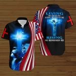 Living He loved me dying He saved me Rising He redeemed me American Flag blue lion ALL OVER PRINTED SHIRTS DH082605