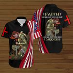 Faith is seeing light with your heart when all your eyes see is darkness American Flag Knight woman Jesus Christ ALL OVER PRINTED SHIRTS DH082602