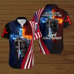 I bow to none other than the Lord Jesus Christ American Flag fire Knight ALL OVER PRINTED SHIRTS DH083101