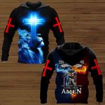 The devil saw me until I said Amen fire Knight blue lion Jesus Christ ALL OVER PRINTED SHIRTS DH090103