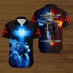 A Child of God a warrior of Christ fire Knight blue lion ALL OVER PRINTED SHIRTS DH090302