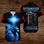 September Guy A Child of God a man of faith a warrior of Chirst knight blue lion ALL OVER PRINTED SHIRTS DH090909