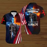 The devil saw me until I said Amen American Flag fire Knight Jesus Christ ALL OVER PRINTED SHIRTS DH090914