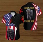 One Nation Under God American Flag Knight Jesus Christ ALL OVER PRINTED SHIRTS DH091201