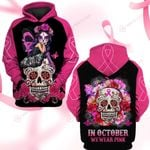 In October We wear pink skull flower ALL OVER PRINTED SHIRTS DH091205