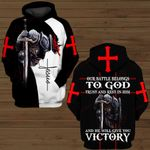 Our battle belongs to God trust and rest him and He will give you Victory Knight Jesus ALL OVER PRINTED SHIRTS DH091402
